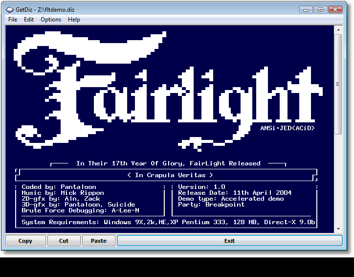 GetDiz with Fairlight ASCII art