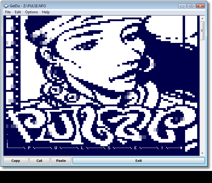 GetDiz with Pulse ASCII art