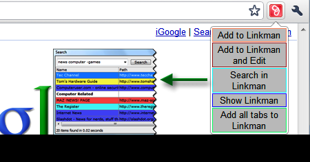 Chrome Bookmark Manager.