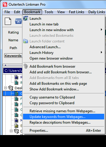Linkman Bookmark Menu