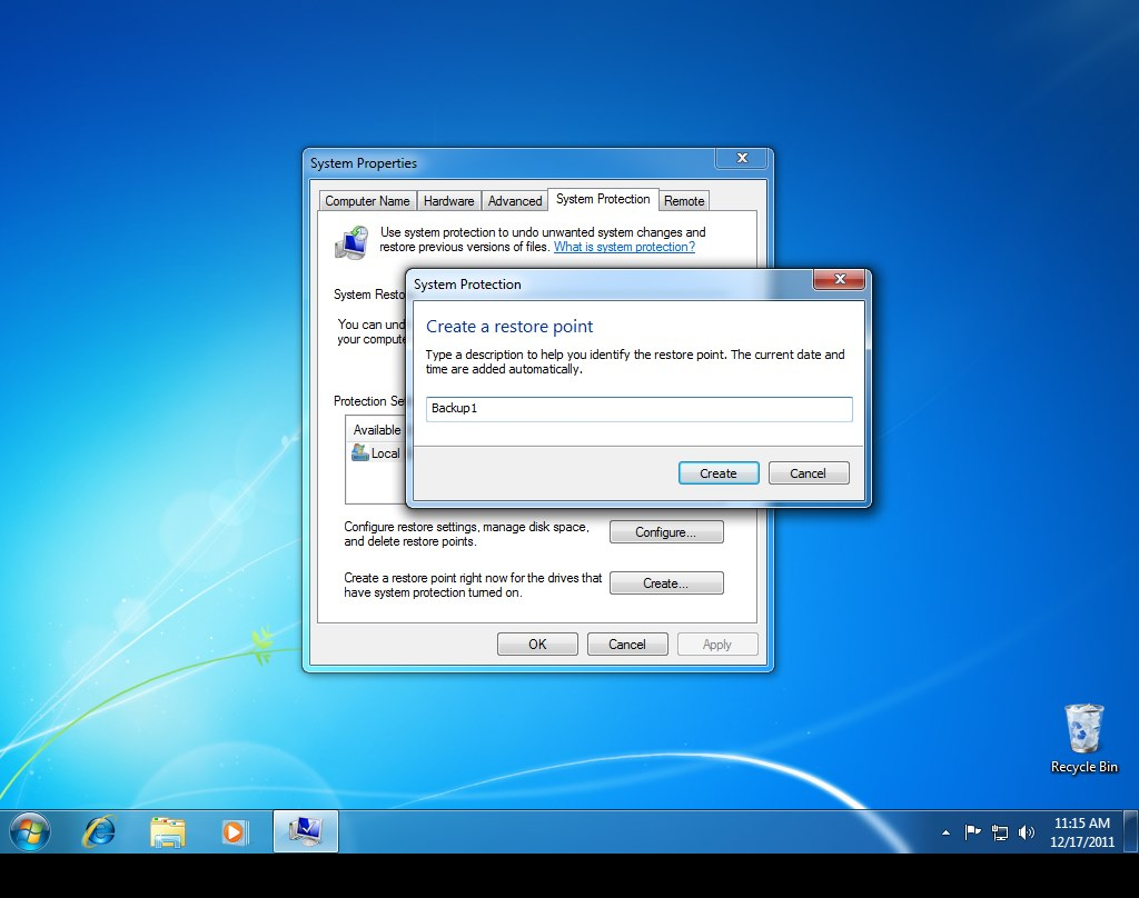Windows 7 Create Restore Point Step 3
