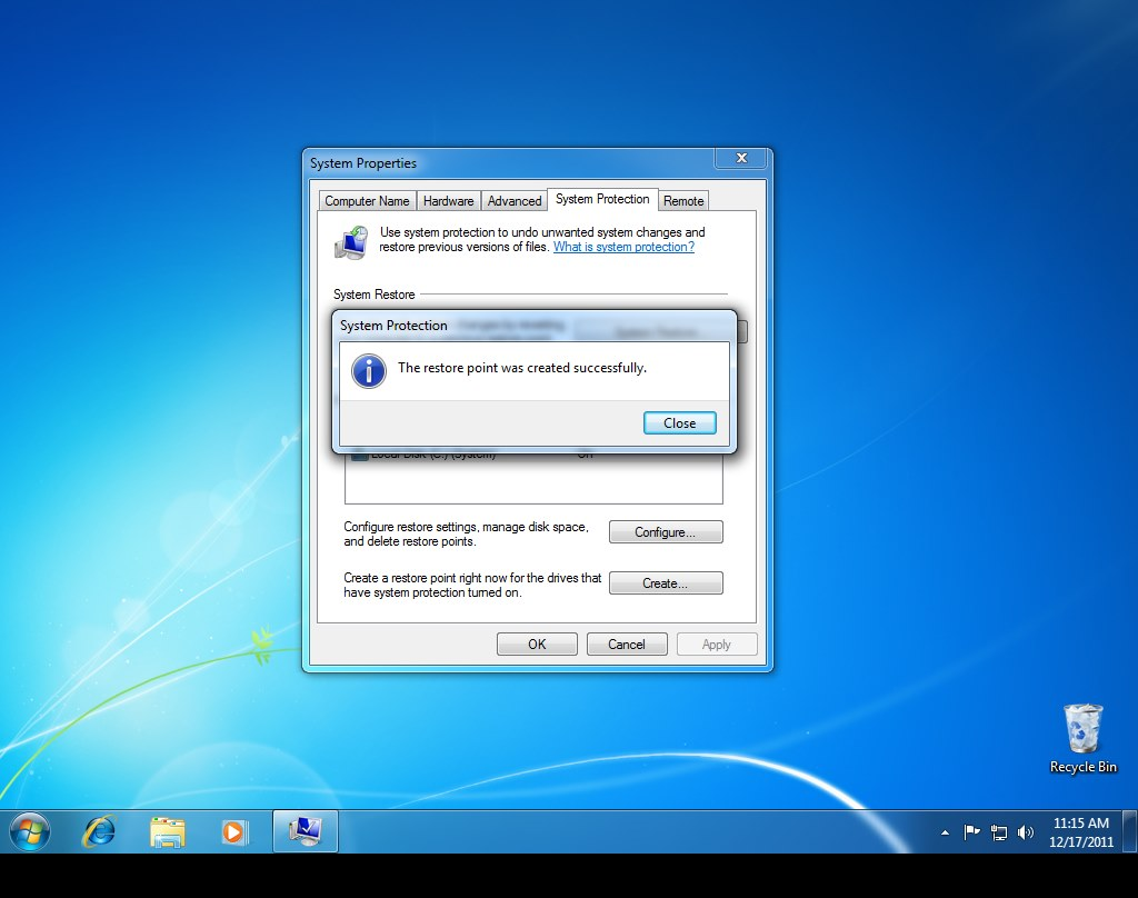 Windows 7 Create Restore Point Step 4