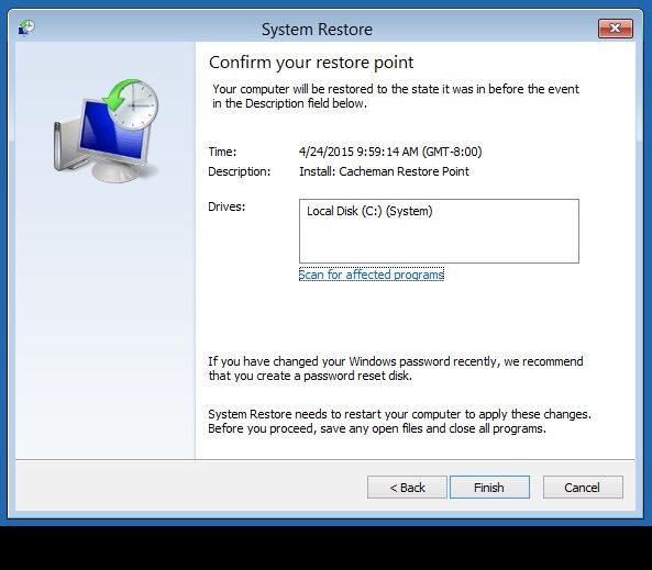 Windows 8 System Restore Finish