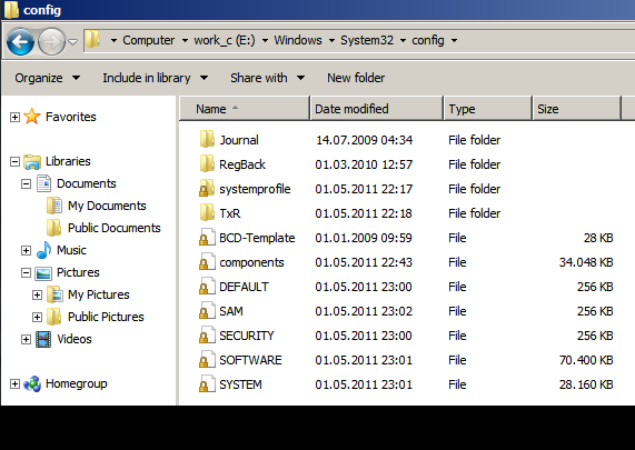Windows Registry folder.
