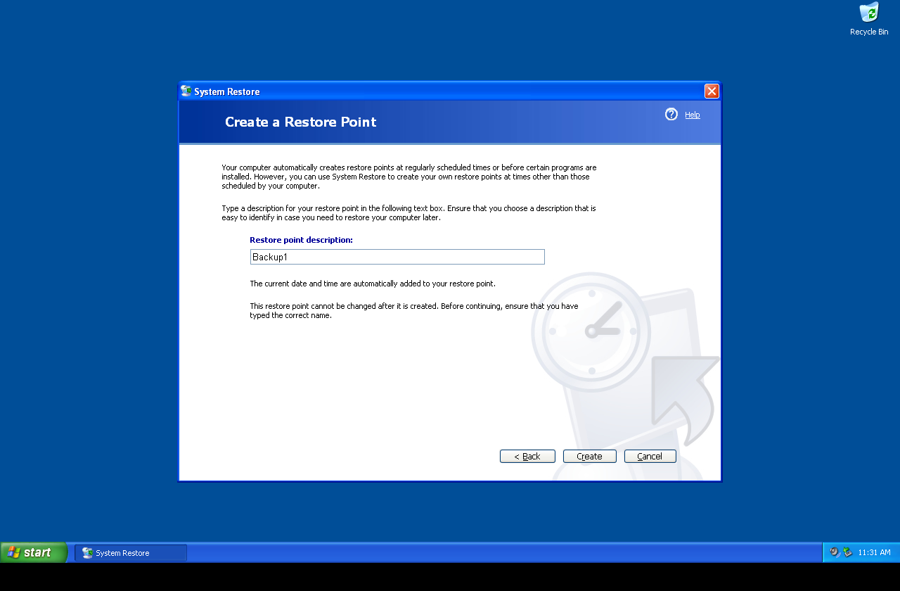 Windows XP Create Restore Point Step 3