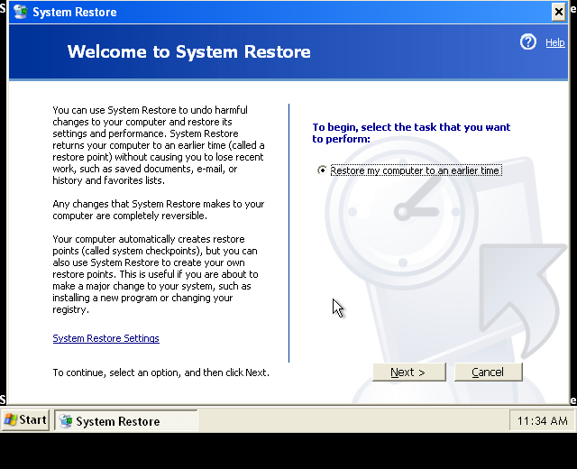 Windows XP Safe Mode System Restore