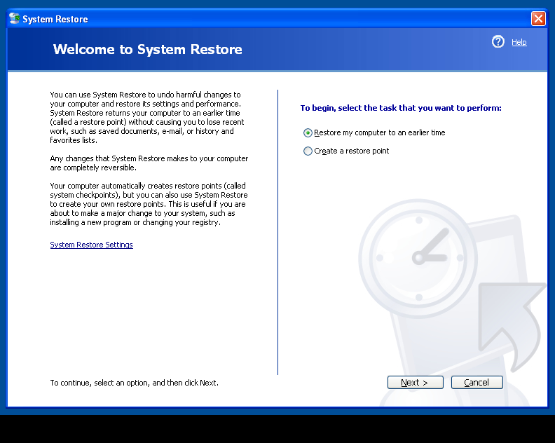 WinXP Choose Restore Point Step 1