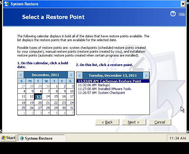 WinXP Choose Restore Point Step 2